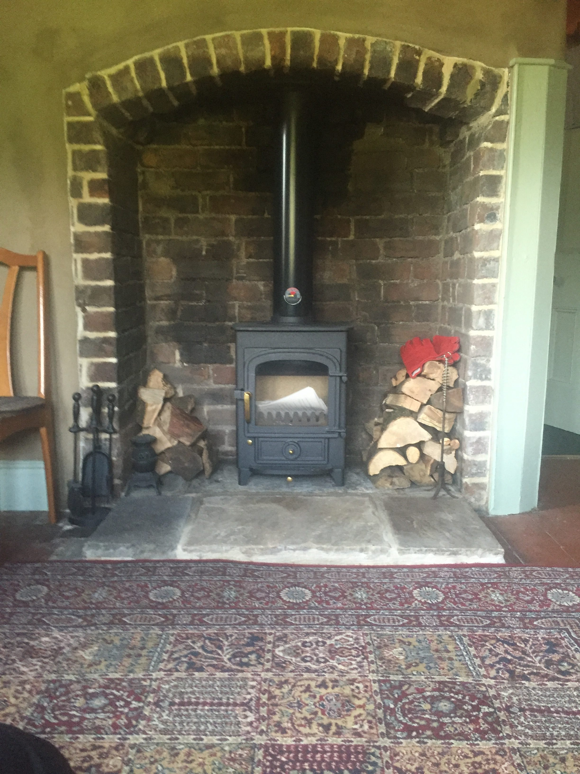 Preparing a fireplace to take a Clearview Pioneer 400 Stove